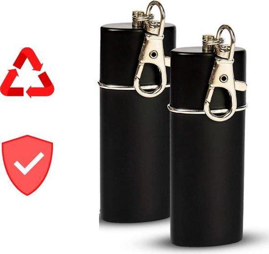 Premium Draagbare Asbak - Milieubewust/Duurzaam - Gemakkelijk Meenemen - Inclusief Sleutelhanger - Asbak - Asbak Voor Buiten - Pocket Asbak - Portable Ashtray - Zak Asbak - Modern/Stevig Design - RVS - Broek/Tas - Omspoelbaar - 8x2 CM - Zwart