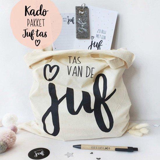 Cadeau Juf - Cadeaupakket - 5 Cadeautjes Juf - Juf Bedankt - Juffen kado - Juffendag - Juffen tas - Notitieblok A6