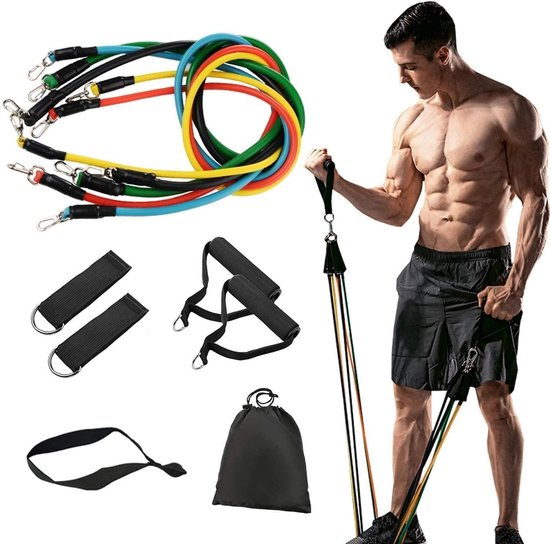 FitFlex - Resistance band set - fitness elastiek set - weerstandsbanden fitness - weerstandsbanden set - workout set met handvatten, enkel straps en deuranker