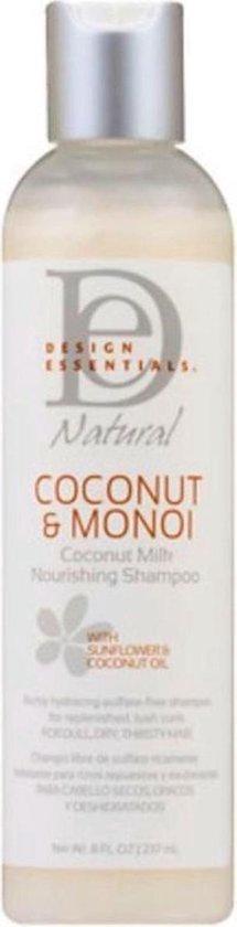 Design Essentials - Coconut & Monoi - Coconut Milk Nourishing Shampoo - Voedende Shampoo voor droog haar - Sulfaat vrije shampoo - Curls + Coils Hydraterende shampoo - 236 ml