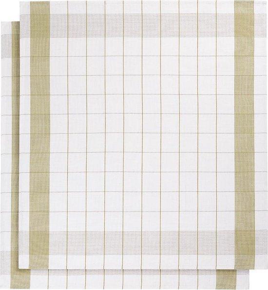 De Witte Lietaer Mixte - Theedoek - 68x68 cm - Set van 2 - White-Yellowgreen