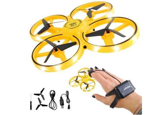 gele speelgoeddrone voor binnen met handen besturen