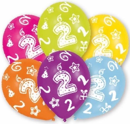 12x stuks 2 jaar thema verjaardag ballonnen van 27 cm - Leeftijd feestartikelen/versiering