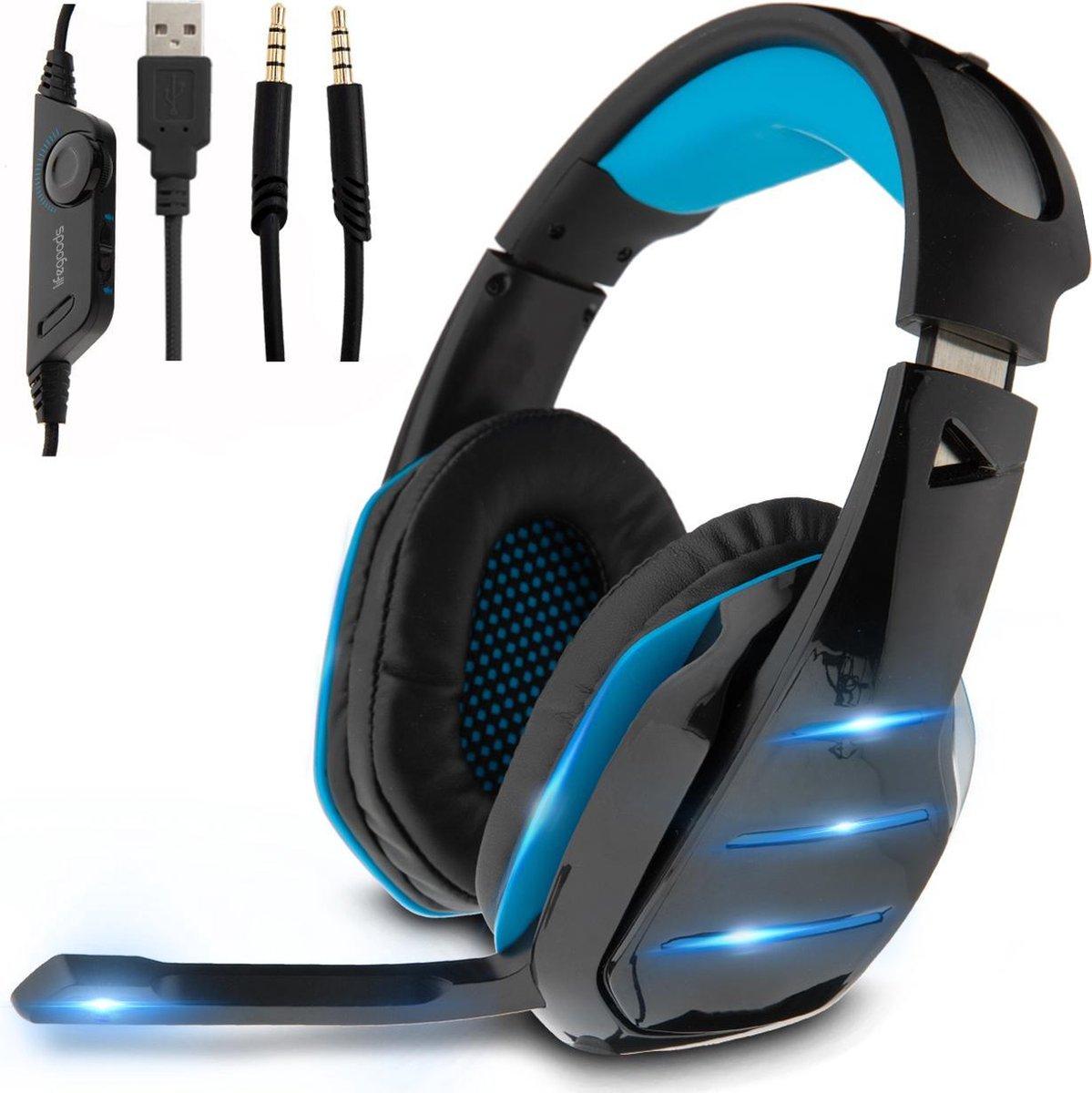 LifeGoods Gaming Headset met Microfoon - Noise Reducing - 3,5 mm Jack en USB - Blauw/Zwart