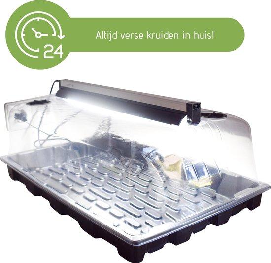 Trizzle Kweekbak XL incl. LED Groeilicht voor Planten / Moestuin / Kruiden – Groeilamp - Grow Light - Propagator – Kweekkas – Ideaal voor Binnen Kweken – Kweektafel – Kweekset Kweeklamp – Permacultuur – 59x37x25