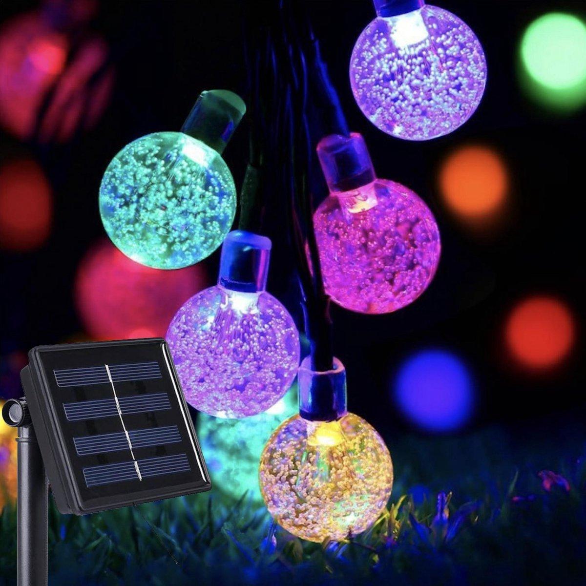 J-Pro Tuinverlichting op Zonne-Energie - 50 Solar Colored LED 7m - Cristal Lichtsnoer - Lichtslinger
