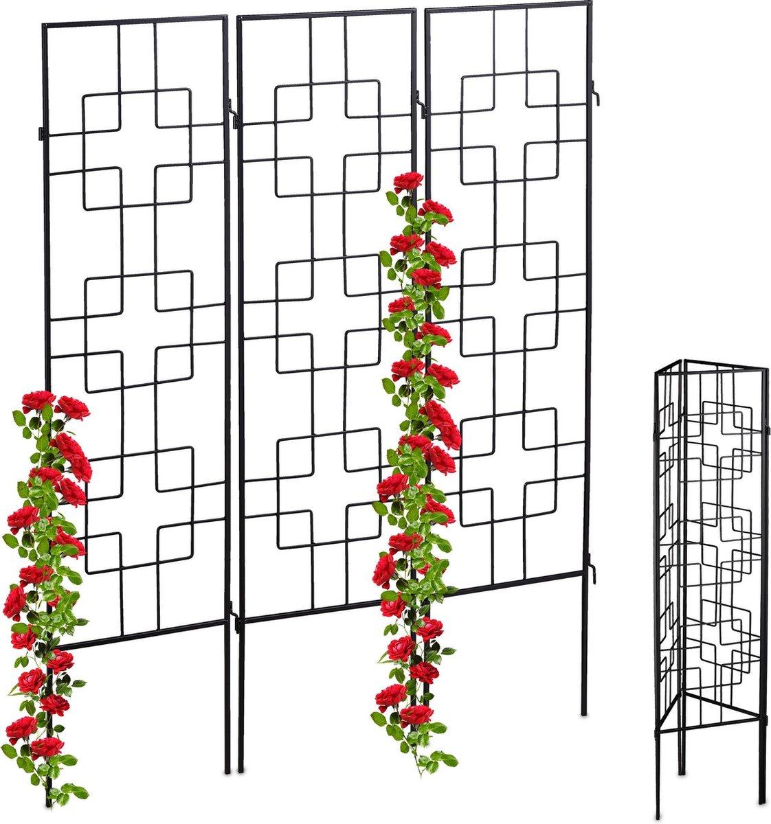 relaxdays klimplantenrek - metaal - 3 stuks - plantensteun - klimplantensteun - plantenrek