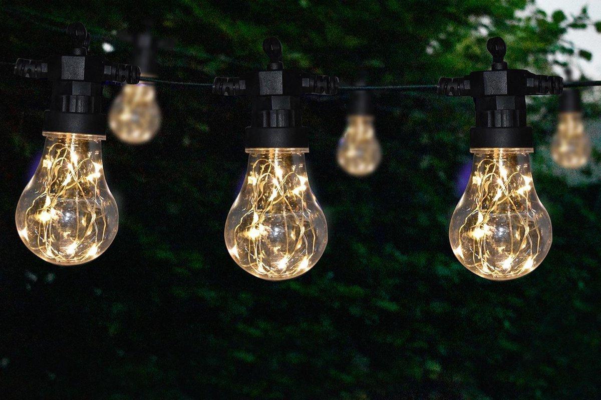 Tuinverlichting - lichtsnoer - 10 lampen - elke lamp met 10 stuks warm LED - 4,5 meter - voor buiten