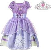 Prinses Sofia jurk paars Deluxe Prinsessen jurk verkleedjurk 104-110 (120) + roze kroon verkleedkleding