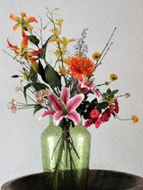 Zijden Boeket - Bont - 70 cm hoog - 8 stelen - Kunstbloemen