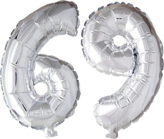 Folieballon 69 jaar zilver 86cm