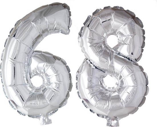 Folieballon 68 jaar zilver 86cm