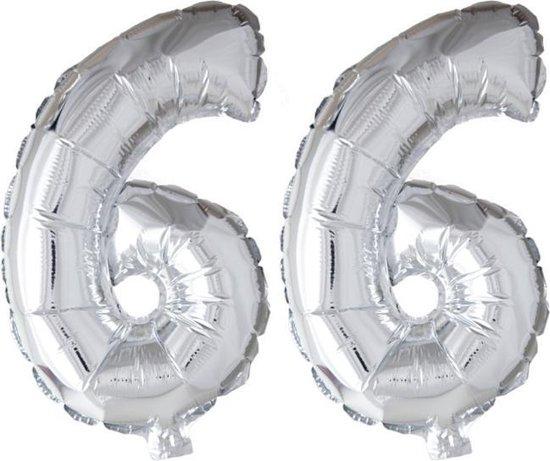 Folieballon 66 jaar zilver 86cm