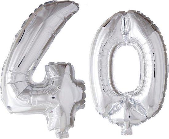 Folieballon 40 jaar zilver 86cm