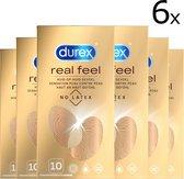 Durex Real Feeling - Condooms - Latex vrij - Voordeelverpakking - 6 X 10