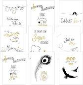 Voordeelpak 9 christelijke kaarten met envelop Golden Blessing serie 2 GOUDFOLIE