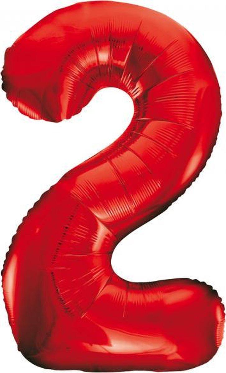 Rode folie cijfer 2 ballon inclusief helium gevuld kopen