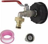 Polypropeen IBC adapter 1/2'' aftapkraan set, s60x6, Gardena koppeling, slangthule en teflon tape.