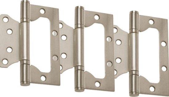 Freesloze scharnier - Complete set (3 stuks) incl. schroeven - geen freeswerk nodig - 100mm - RVS SUS202 - Scharnier zonder frezen