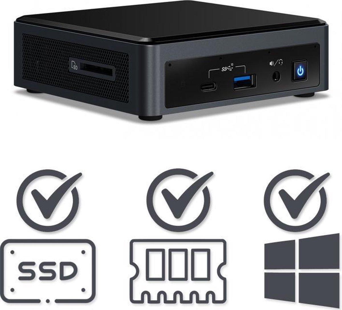 Intel NUC Compleet PC | Intel Core i7 / 10710U | 8 GB DDR4 | 120 GB SSD | HDMI | USB-C | Windows 10 Pro kopen
