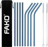 Fako Bijoux® - RVS Rietjes - 8 Stuks - Recht & Gebogen - 21 cm - 2 Schoonmaakborsteltjes - Blauw