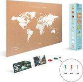 Miss Wood - WOODY MAP NATURAL kurken wereldkaart - 90x60cm (XL) - Wit