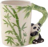 Mok van keramiek met panda handvat en bamboe print