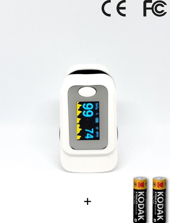 Saturatiemeter | Hartslagmeter | Zuurstofmeter | Vinger pulse oximeter | inclusief batterijen