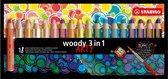 STABILO Woody 3 in 1 - Etui 18 stuks + slijper + penseel