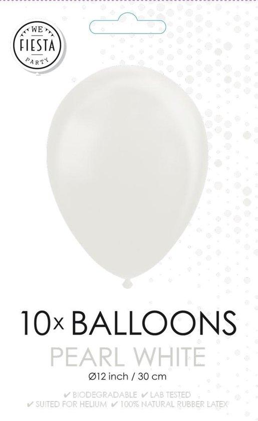 Parel witte ballonnen 30cm 10 stuks