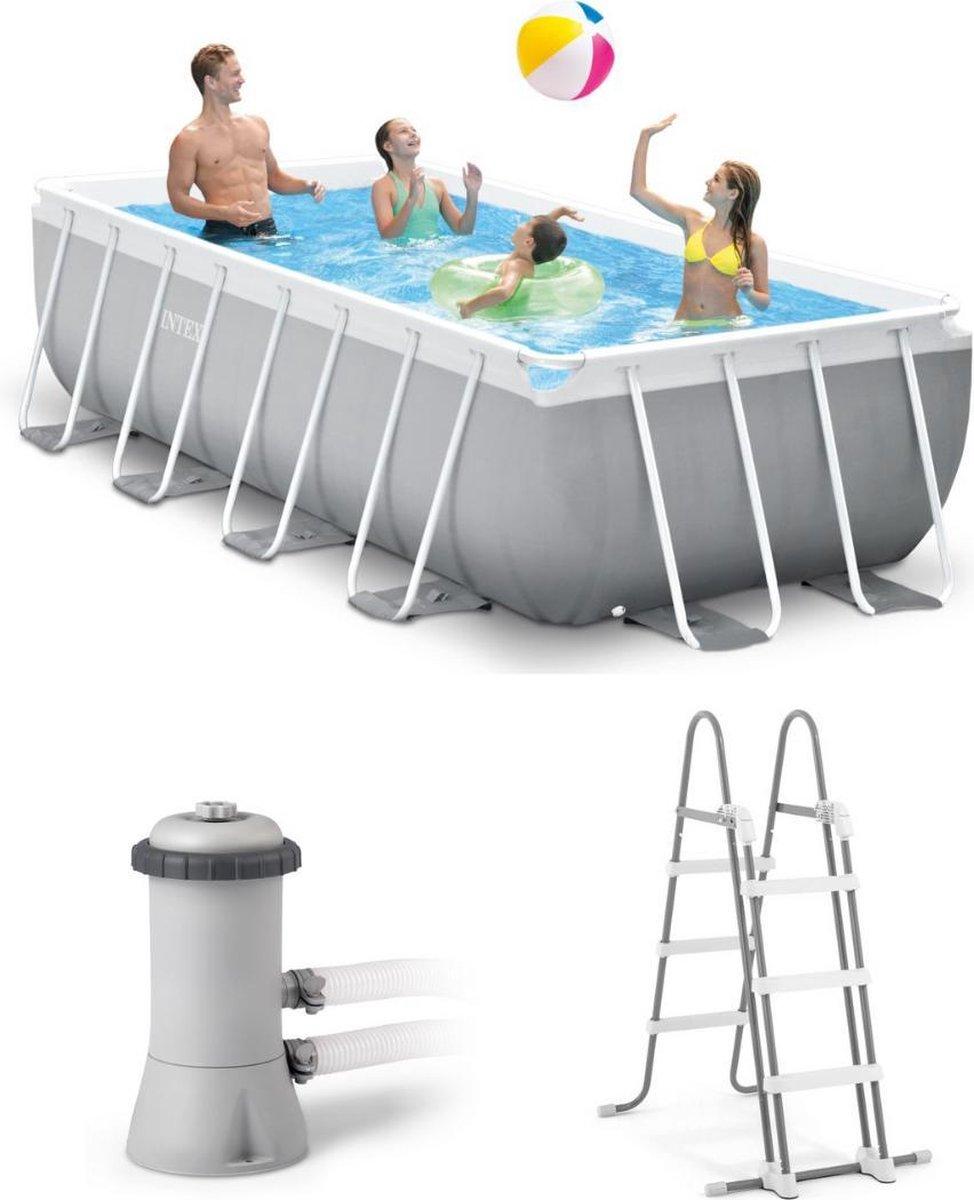 Intex Opzetzwembad - Prism Frame - 400 x 200 x 100 cm - Met pomp en ladder - Grijs