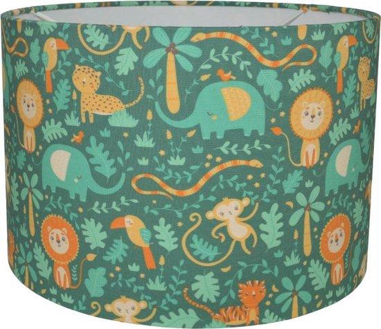 Jungle Lamp Kinderkamer Baby Dieren - Land of Kids Kinderlamp Groen en Geel - Olifant - Leeuw - Aapje - Hanglamp - Peuterkamer