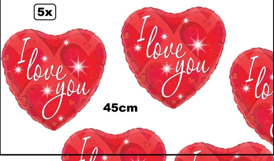 5x Folie ballon hart I Love You rood 45cm - folie ballon hartje valentijn liefde trouwen