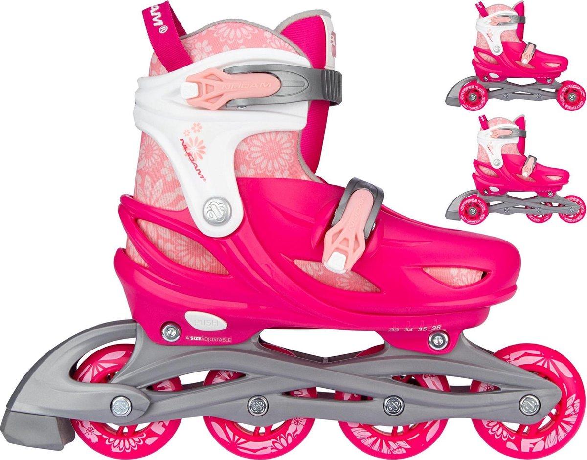 Nijdam 3-in-1 Inline Skates Verstelbaar - Floral Switch - Fuchsia/Wit/Roze/Zilvergrijs - 33-36