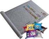 Puzzelmat voor Legpuzzel Inclusief 8 Puzzelbakjes | XL | Opblaasbaar | Puzzeloprolmat | Puzzelrol | Puzzel Opbergsysteem met Sjabloon | 115x60cm | 1500 Stukjes | Grijs Vilt | Puzzel Sorteerbakken | Puzzelbakjes | Puzzelset Compleet