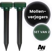 Aniway -  Mollenverjager - Muizenverjager - Mollenbestrijding - Werkt op zonne-energie - 2 stuks - Diervriendelijk - Waterdicht - Strakke tuin/gazon/perceel