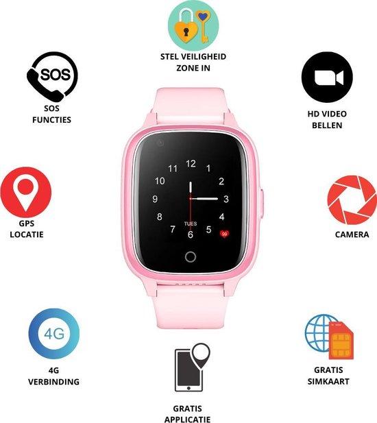 GPS Horloge 4 YOU - GPS Horloge kind - GPS Tracker - Smartwatch voor kinderen - Kinderhorloge - Gratis simkaart en Gratis - SOS Knop - 4G verbinding- Waterdicht - Live GPS Locatie - HD (Video)bellen - Veiligheidzone instellen - Camera - Roze 17