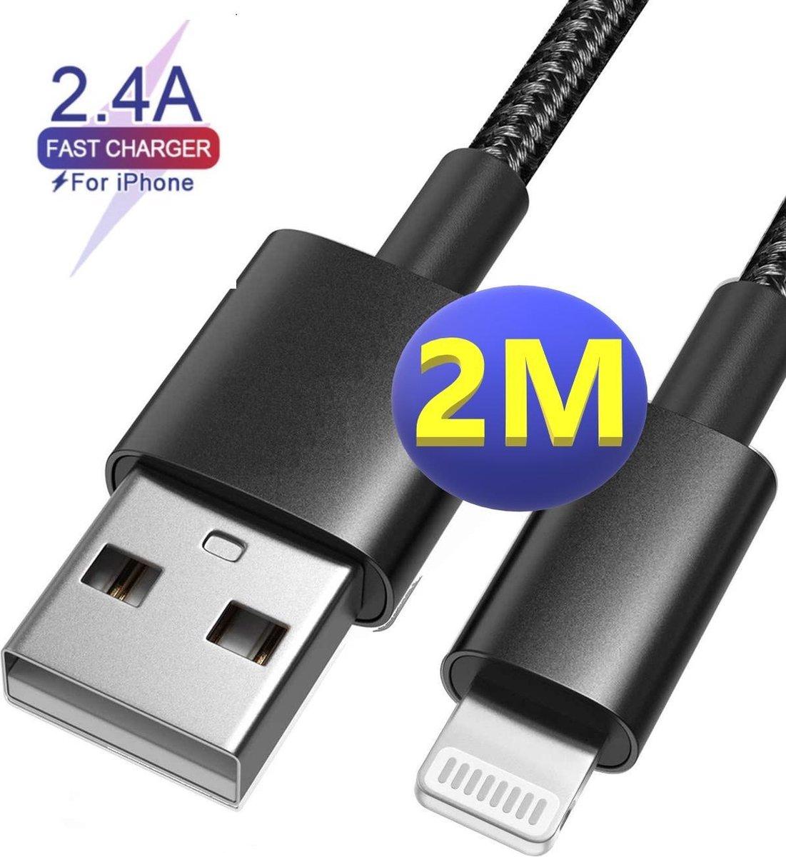 iPhone oplader kabel - 2M - geschikt voor Apple iPhone 6,7,8,X,XS,XR,11,12,Mini,Pro Max - iPhone kabel - iPhone oplaadkabel - iPhone snoertje - iPhone lader