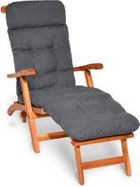 Beautissu Deckchair Kussen 200x50x8 cm - Ligstoelkussen Antraciet - Matraskussen voor Hangmatten en tuin-/terrasstoelen - Flair DC