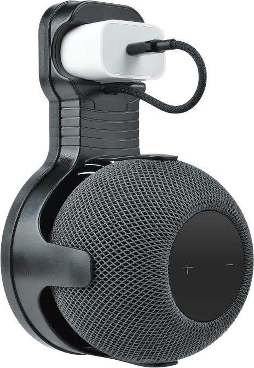 Luxe Wandsteun Stopcontact Beugel Houder Voor Apple Homepod Mini Smart Speaker - Muurbeugel Standaard Wand Docking Station Oplaadstation Case Mount - Muur Stand Steun - Ophang Wandbeugel Laadstation - Muursteun - Zwart
