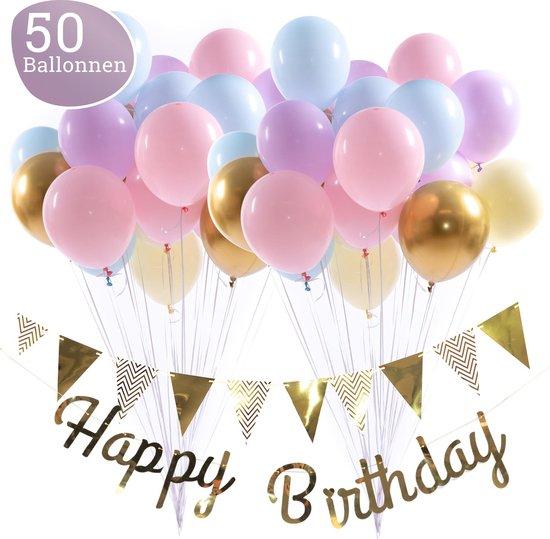 Regenboog Ballonnen Verjaardag & Versiering Set – Incl. Happy Birthday Slinger, Vlaggenlijn, Lint, Plakkers en 50 Ballonnen – Kant en Klaar Feest Pakket