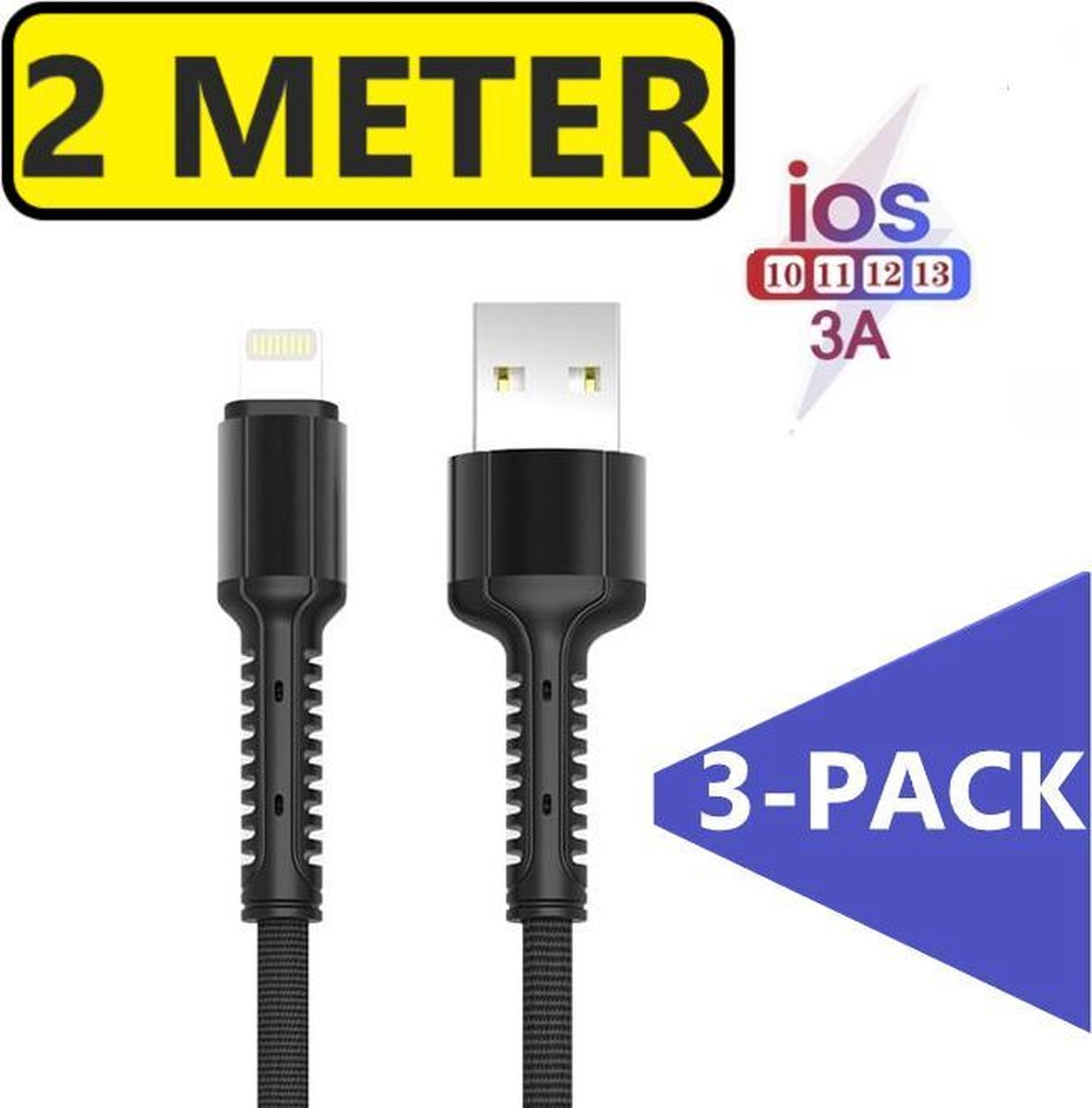 3x iPhone oplader kabel geschikt voor Apple iPhone 6,7,8,X,XS,XR,11,12,Mini,Pro Max- iPhone kabel - iPhone oplaadkabel - iPhone snoertje - iPhone lader