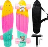 Big Bang Boards® SuperNova – Mini Cruiser met Flash Wheels – Skateboard Meisjes & Jongens – Pastel – Board Blauw – Led Wieltjes – Skateboard – Penny Board – 22 inch