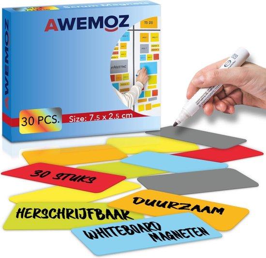 AWEMOZ® Scrum Magneten - 30 stuks - Voor Whiteboard, Magneetbord, Memobord of Magnetisch Tekenbord – Herschrijfbare Magneten op Koelkast - Post It Notes – Kanban - 7,5 cm Breed x 2,5 cm Lang - 6 Kleuren