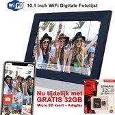 Innovu Jessica Digitale Fotolijst met WiFi, 10 inch, Touchscreen, Frameo App, Zwart, Gratis 32GB Geheugenkaart