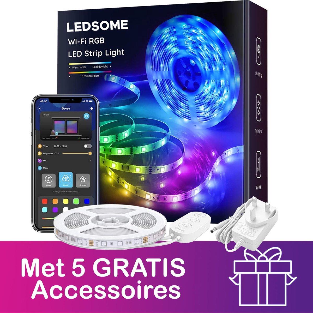 Ledsome RGB LED Light Strip - 10 Meter - Lichtsnoer - LED Lamp - Sfeer Verlichting - 16 Miljoen Kleuren - 300 LEDS