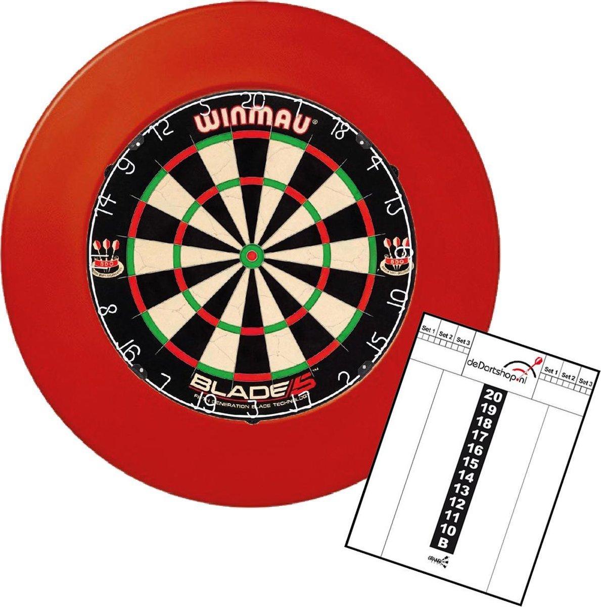 winmau blade 5 incl. rubberen surround ring rood en scorebord