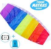 Tigrar - Matrasvlieger - Vliegers voor Kinderen - 1.4 Meter XXL Vlieger - 30 meter lijn - Regenboog Stuntvlieger