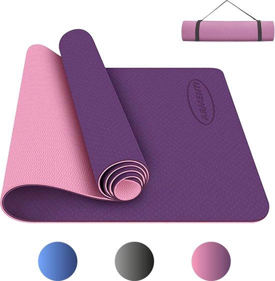 ARMENTI® Premium Yoga mat - Anti slip (extra dik) - Eco friendly Zero waste Duurzaam - TPE - Fitness mat - Sport matje - Roze - Met opbergkoord - Sport materiaal voor thuis - Sport spullen - Matje - Attributen - Artikelen voor workout thuis - Gear
