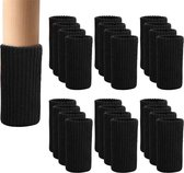 Stoelpoot beschermers | Stoelpoot sokken | Stoelpoot doppen | Zwart | 20 - 55 MM | 24 stuks
